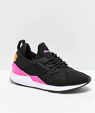 PUMA Muse Chase Black, Pink & Orange