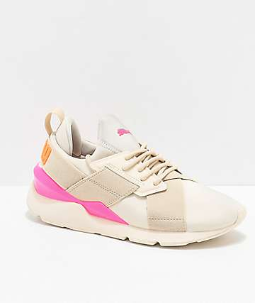 PUMA Muse Chase Tan, Pink and Orange Shoes
