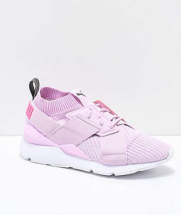 PUMA Muse Evoknit Winsome Orchid Pink & White Shoes