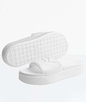 PUMA Platform Bold White Slide Sandals