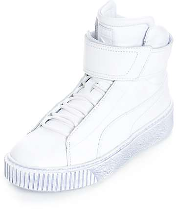 PUMA Platform Mid White Shoes (Womens)