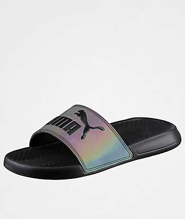 PUMA Popcat Black Slide Sandals