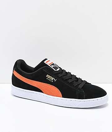 PUMA Suede Classic+ Black & Firecracker Orange Shoes