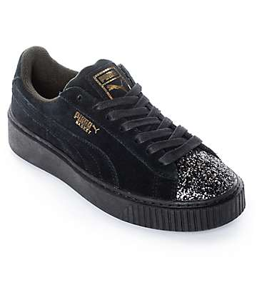 PUMA Suede Platform Crushed Gem Black Shoes (Womens)