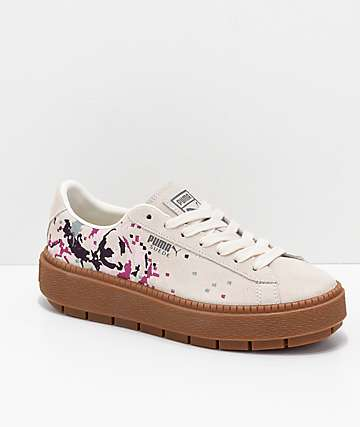 PUMA Suede Platform Digital Embroidered White Shoes