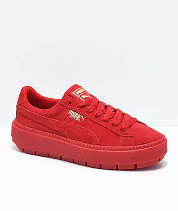 PUMA Suede Platform Trace VD Red Shoes