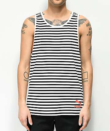 PUMA Summer Breton Black & White Striped Tank Top
