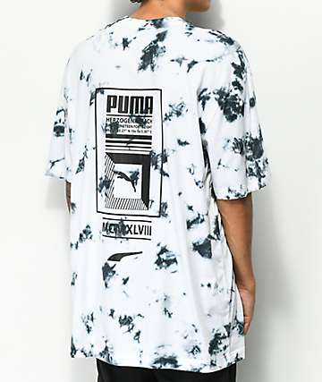 PUMA Tower Logo Black & White Tie Dye T-Shirt