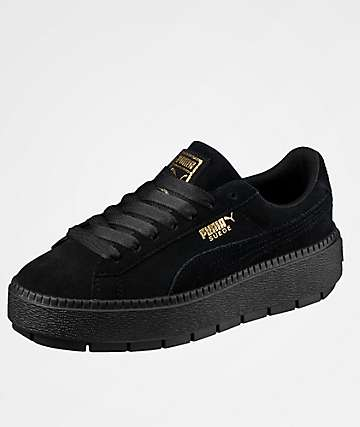 PUMA Trace Platform Black Suede Shoes