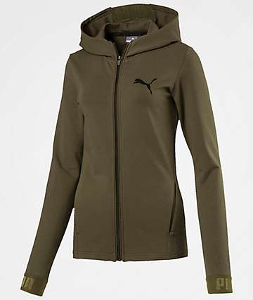 PUMA Urban Sports Full Zip Olive Hoodie