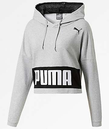 PUMA Urban Sports Training Cropped Black Hoodie