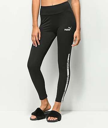 PUMA leggings negros con cinta de logotipo