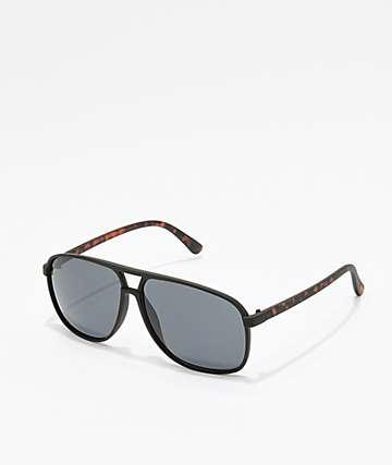 Panama 2 Black & Tortoise Square Aviator Sunglasses
