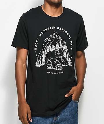 Parks Project CO Rocky Mountain Bear camiseta negra