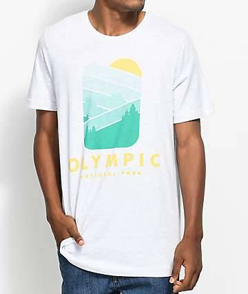 Parks Project WA Olympic Forest camiseta en blanco jaspeado