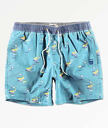 Party Pants Tan Bananas Blue Board Shorts