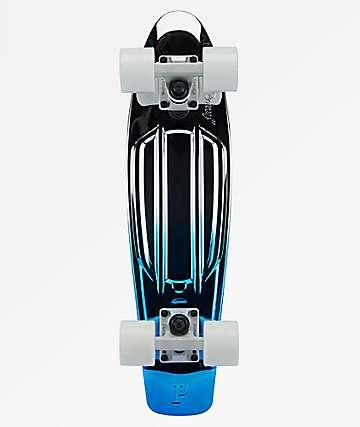 "Penny Blue Silver Metallic Fade 22"" Cruiser Complete Skateboard"