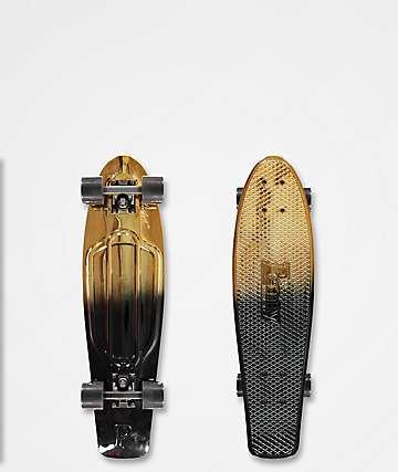 """Penny Nickel 27"""" cruiser completo de skate en negro y color oro"""