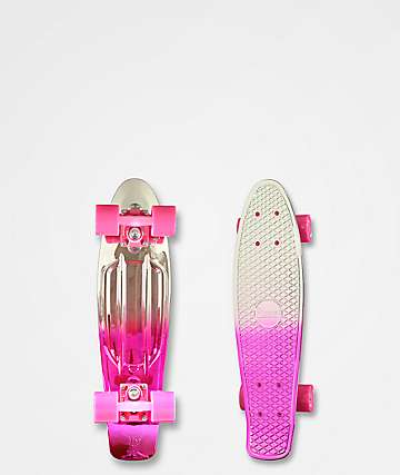 "Penny Silver & Pink Metallic Fade 22"" Cruiser Complete Skateboard"