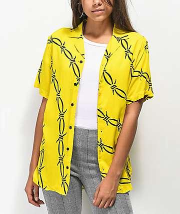 Petals & Peacocks Barb Wire Yellow Shirt