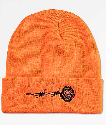 Petals & Peacocks Barbed Rose Orange Beanie