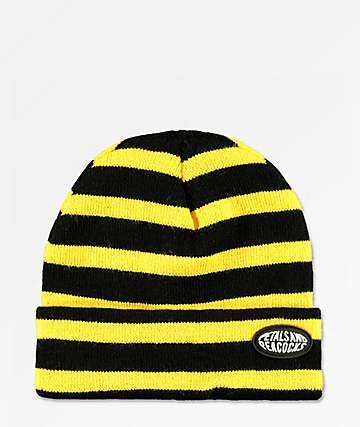 Petals & Peacocks Black & Yellow Stripe Beanie