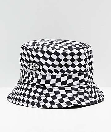 7e3a7bc8c146e Petals   Peacocks Checkered Black   White Bucket Hat