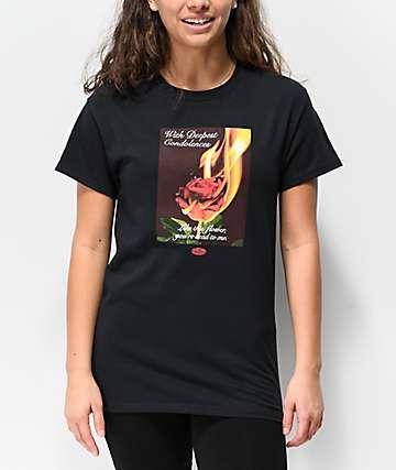 Petals & Peacocks Condolences Rose Black T-Shirt