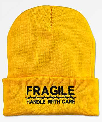 Petals & Peacocks Fragile Dark Yellow Beanie