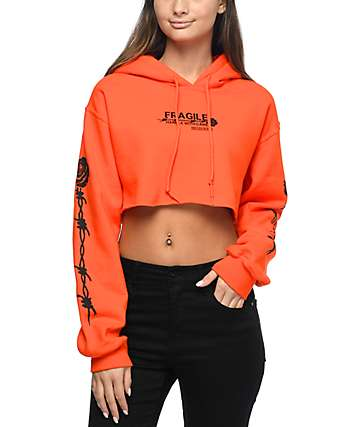Petals & Peacocks Fragile Orange Cropped Hoodie