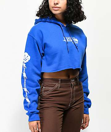 Petals & Peacocks Handle With Care Blue Crop Hoodie