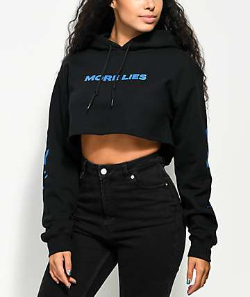 Petals & Peacocks More Lies Black Crop Hoodie