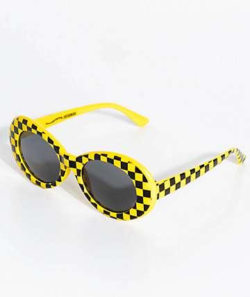 Petals & Peacocks Nevermind gafas de sol de cuadros amarillos