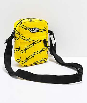 Petals & Peacocks Yellow Barbed Wire Shoulder Bag