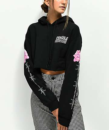 Petals By Petals & Peacocks Fragile Black Crop Hoodie