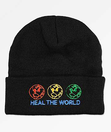 Petals By Petals & Peacocks Heal The World gorro negro