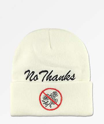 Petals By Petals & Peacocks No Thanks White Cuff Beanie