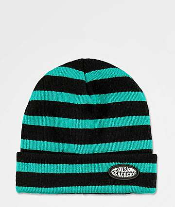 Petals and Peacocks Black & Blue Stripe Beanie