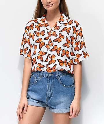 Petals and Peacocks Butterfly Effect Short Sleeve Button Up Shirt