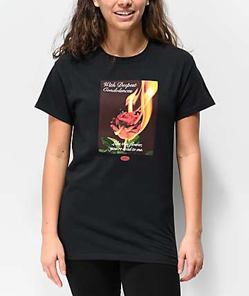 Petals and Peacocks Condolences Rose Black T-Shirt