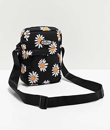 Petals and Peacocks Daisies Black Crossbody Bag