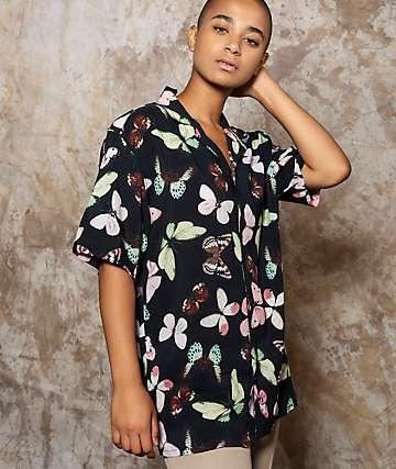 Petals and Peacocks Diversifly Black Short Sleeve Button Up Shirt