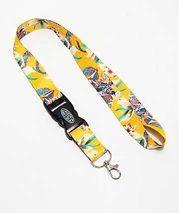 Petals and Peacocks Dragon Yellow Lanyard