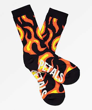 Petals and Peacocks Flames Crew Socks