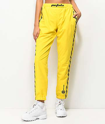 Petals and Peacocks Kindness Black & Yellow Crinkle Sweatpants