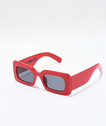 Petals and Peacocks Rhubic Square Red & Black Sunglasses