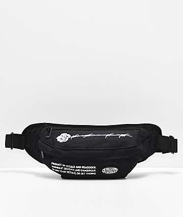 da035bf615 Petals by Petals   Peacocks Barbed Rose Black Fanny Pack