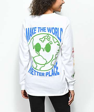 Petals by Petals & Peacocks Heal The World White Long Sleeve T-Shirt