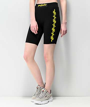 Petals by Petals and Peacocks Kindness Black & Yellow Bike Shorts