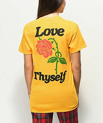 Petals by Petals and Peacocks Love Thyself Gold T-Shirt